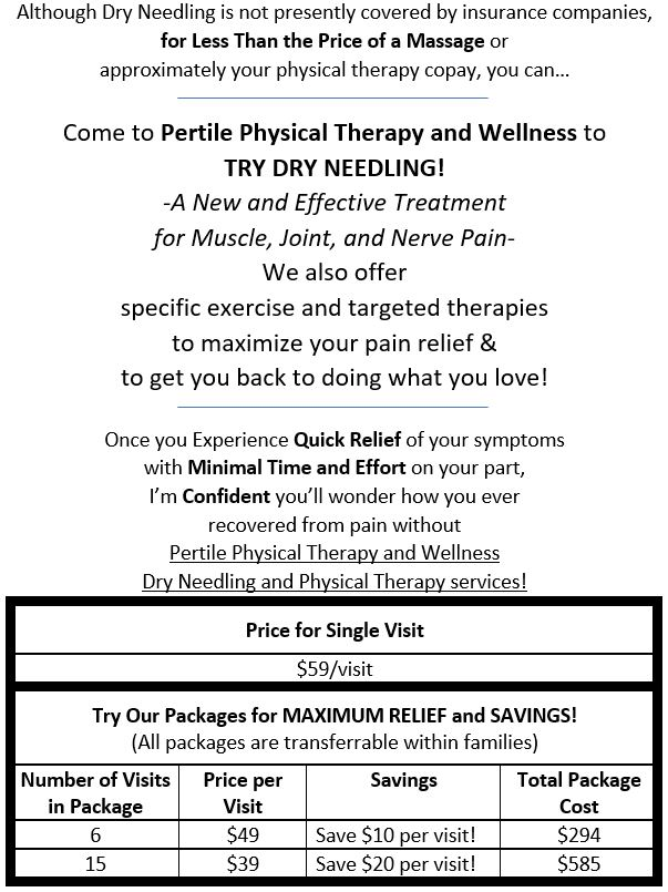 Pricing for Dry Needling and Physical Therapy Services Single Visit and Packages