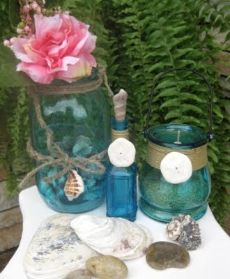 decorated jars with twine and shells