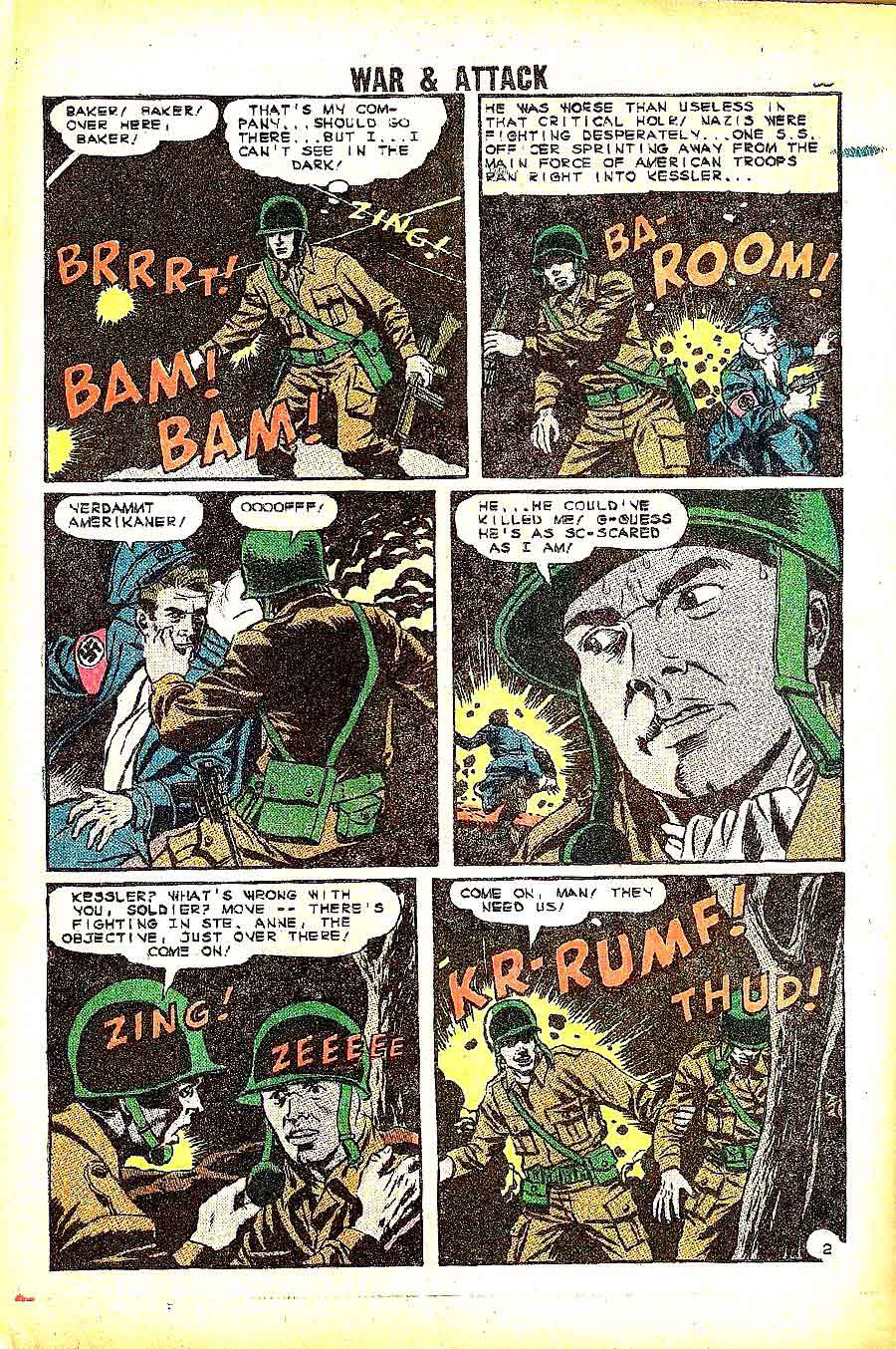 War and Attack v1 #1 charlton war silver age 1960s comic book page art by Wally Wood