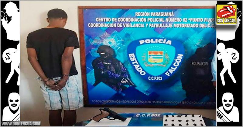 Capturan a El Enyer con un arma y droga para vender frente a un liceo en Paraguaná