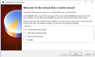 Pilih VDI (VirtualBox Disk Image)