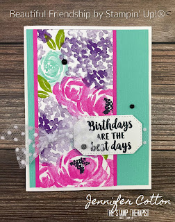 Birthday card with Stampin' Up!'s Beautiful Friendship retiring stamp set!  You can get this set through May 3, 2021 or while supplies last.  I also used the retiring/while supplies last Subtle Embossing Folder.  In the video on the blog I make this card.   Measurements are on the blog.  #StampinUp #StampTherapist #BeautifulFriendship