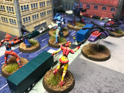 Valiants battle Snake Corp in the Democracy streets