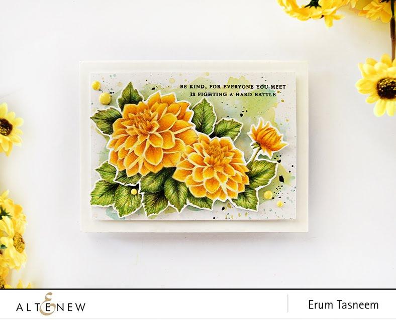 Altenew Dahlia Blossoms pencil coloured by Erum Tasneem - @pr0digy0