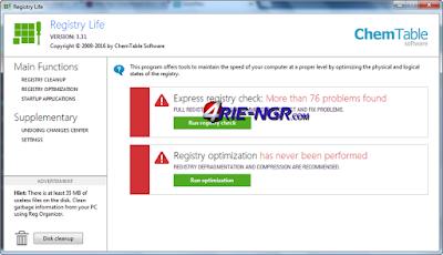 RegCleaner Registry Life 3.31 Terbaru
