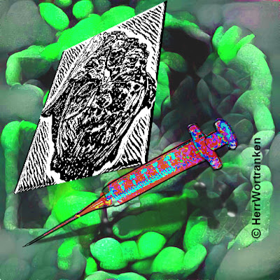Hintergrund mit plastischen, undefinierbar amorphen, teilweise eingeschnürten Därmen, deren Grundfarbe grünlich wirkt. In der Ebene davor, eine in schwarzer Tusche, im Raum schräg liegende Zeichnung. Ein zweites Element stellt eine Einmalspritze, mit Schattenwurf, dar.