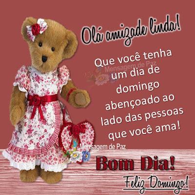Olá amizade linda! Que você tenha um dia de domingo abençoado ao lado das pessoas que você ama! Bom Dia! Feliz Domingo!
