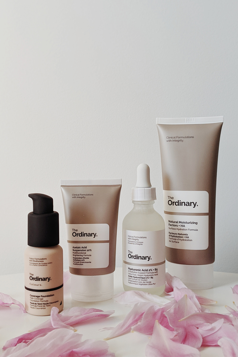 a close up picture of an ordinary skincare line