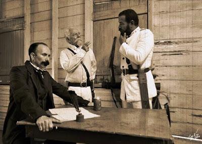 José Martí. Máximo Gómez y Antonio Maceo, reunidos en un bohío cubano