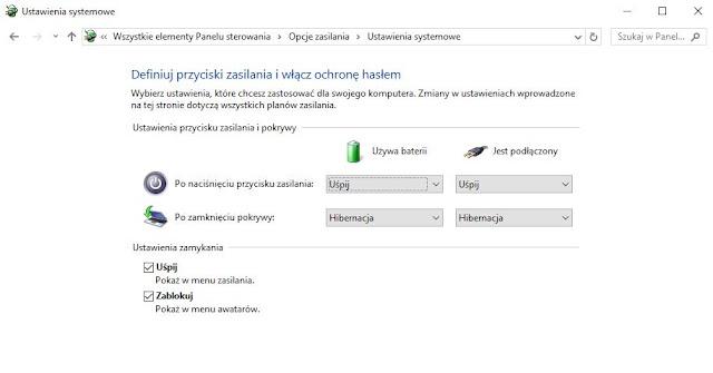 brak opcji włączenia hibernacji w windows 10 po aktualizacji