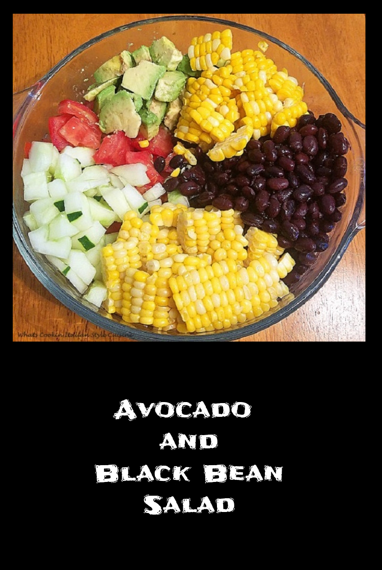 this is an avocado black bean Keto diabetic friendly and healthy bean salad with corn, cucumbers, black beans tomato and avocado recipe