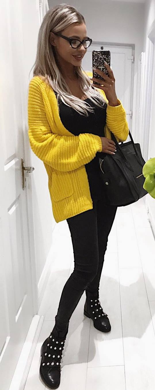 black and yellow / cardigan + bag + top + skinnies + boots