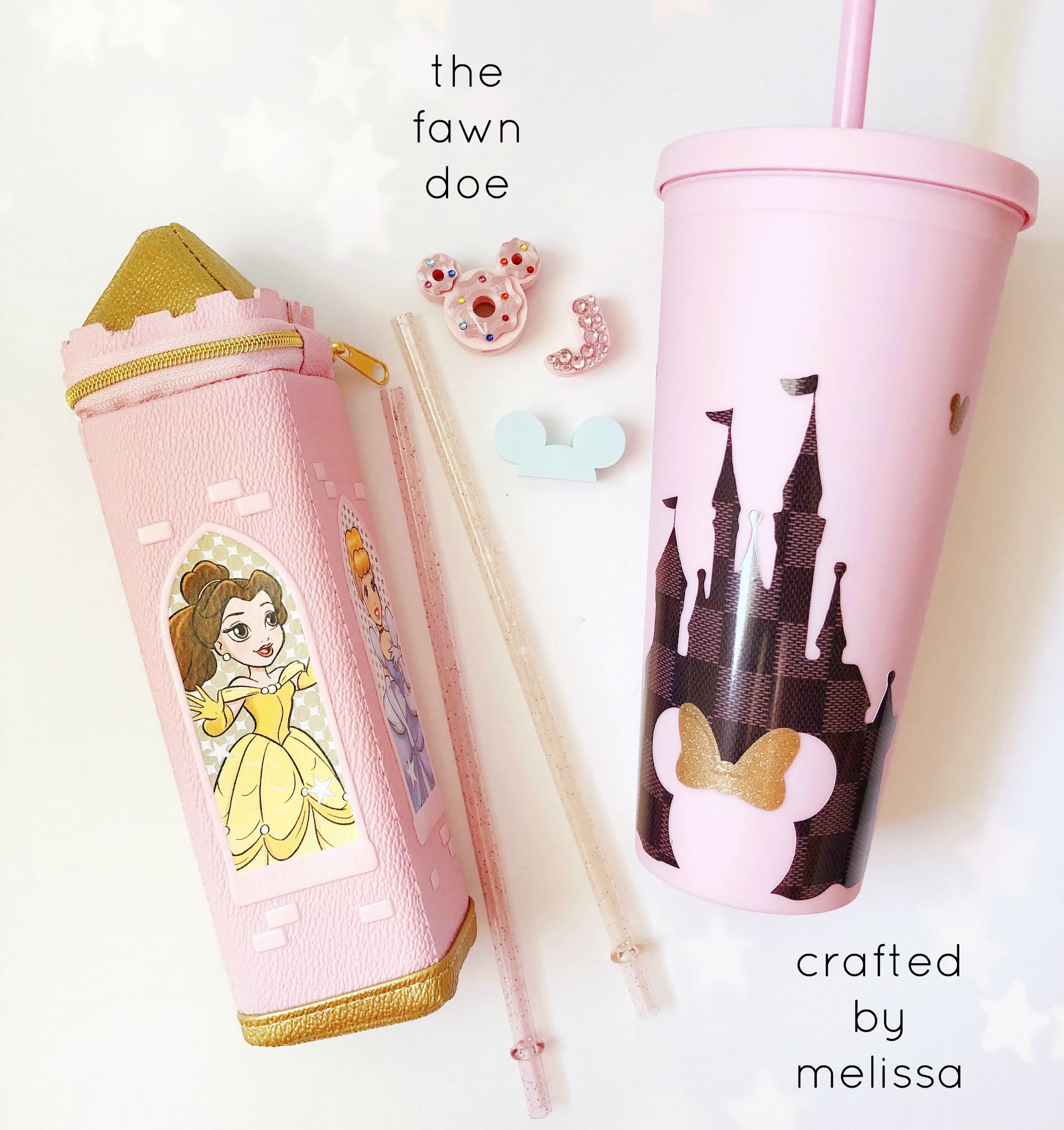 Disney inspired tumblers and straw charms