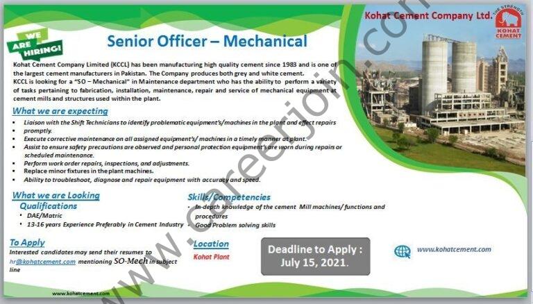 Kohat Cement Company Ltd KCCL Jobs July 2021