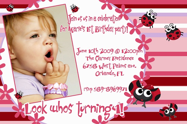 First Birthday Invitation Cards for Baby Boy Girl Romantic – Ladybug Invitations 1st Birthday