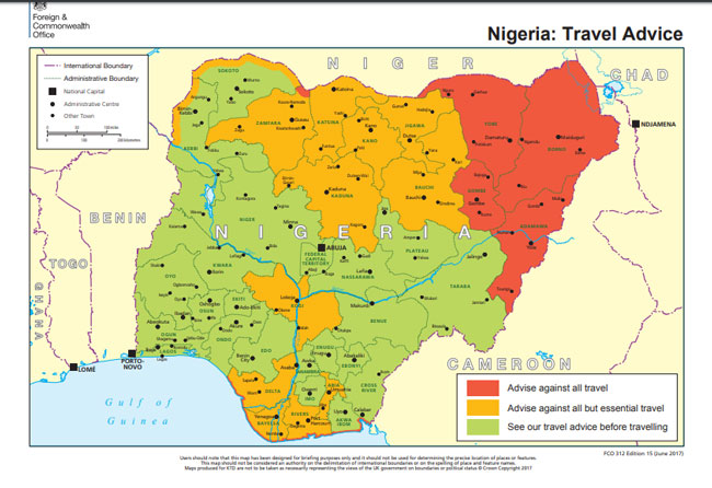 British Government Warns Citizens Against Visiting 21 States In Nigeria