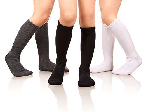 07f1961fa MIUBEAR Girls Cotton Knee High Socks School Girls Uniform Soccer Sport Socks  3-13 Years Old Pack Of 3 (L - 9-13 Years - US Shoe - 2-5