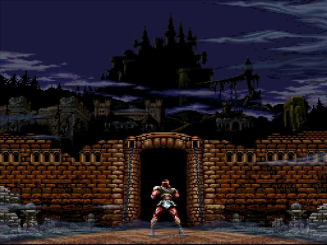 the introduction screen of Super Castlevania IV, right before the game starts. We can see Simon Belmont from the back, facing the castle entrance.