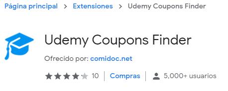 Extensión para cupones de Udemy