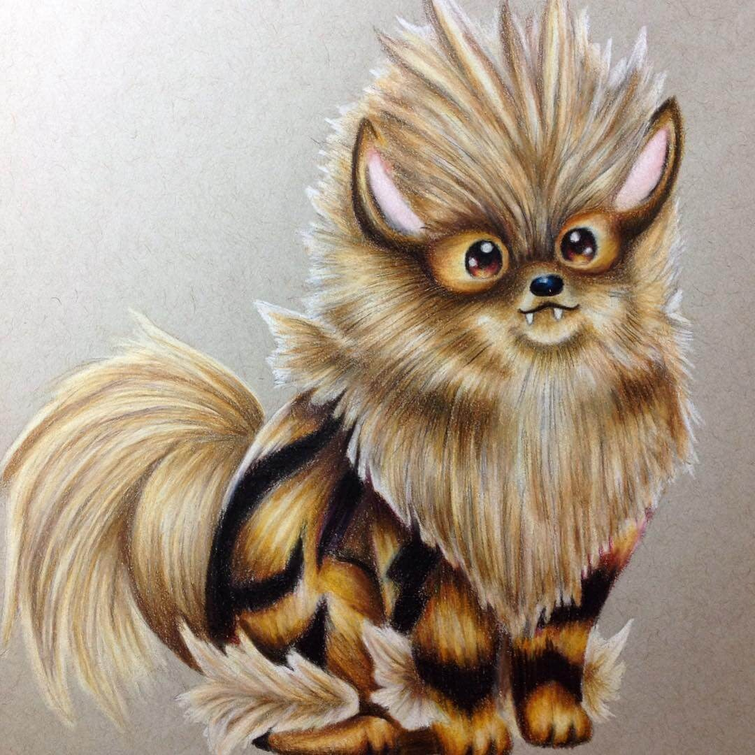 07-Arcanine-Estefani-Barbosa-Fantasy-Animals-in-Pencil-Drawings-www-designstack-co