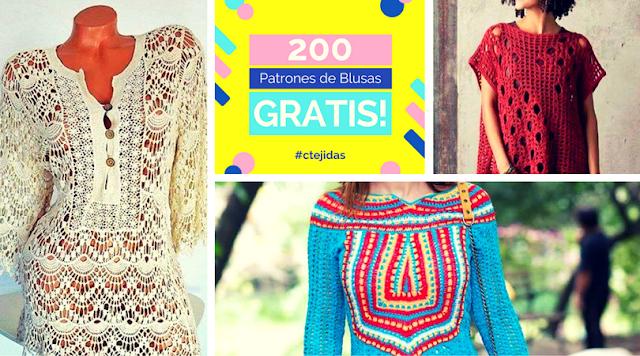 200 Patrones de Blusas a Ganchillo o Crochet para Descargar Gratis