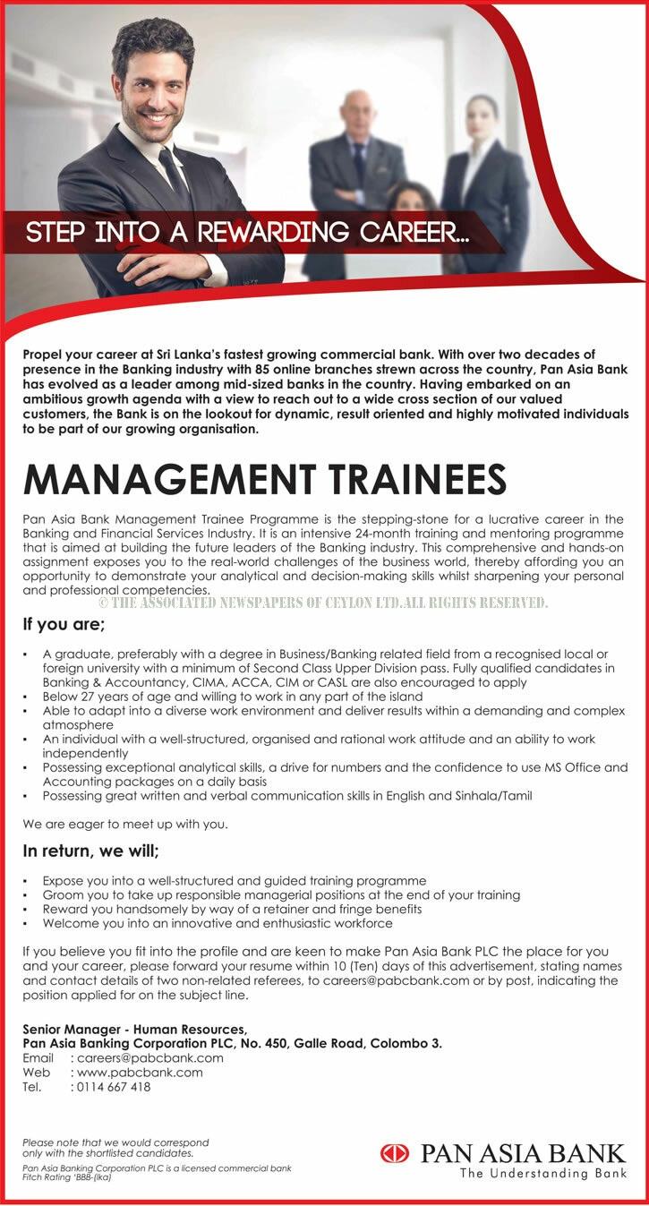 Management Trainee Vacancies at Pan Asia Bank
