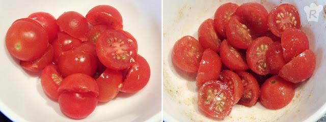 Tomates cherry partidos y aderezados