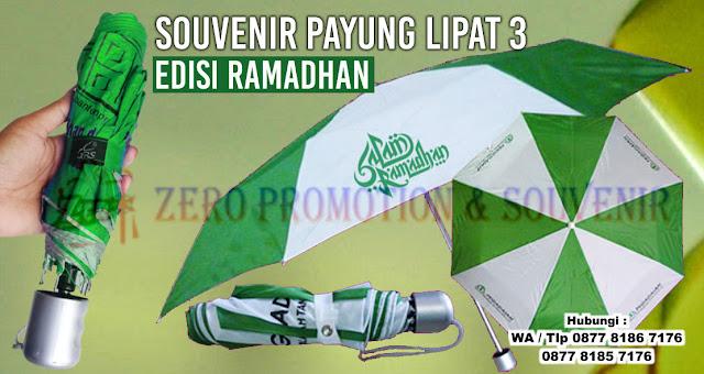 jual Souvenir Payung lipat 3 edisi ramadhan, Payung edisi Ramadhan Termurah