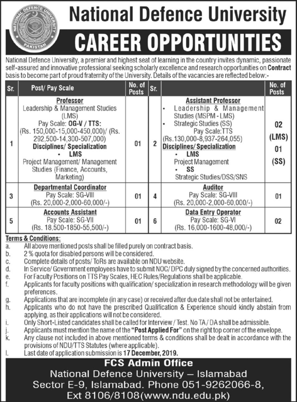 National Defence University Islamabad Jobs 2019 Latest