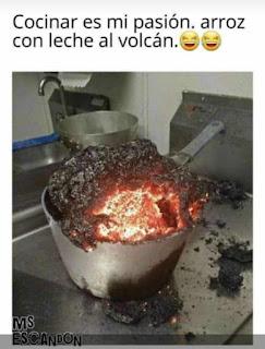 Arroz con leche volcan negro quemado