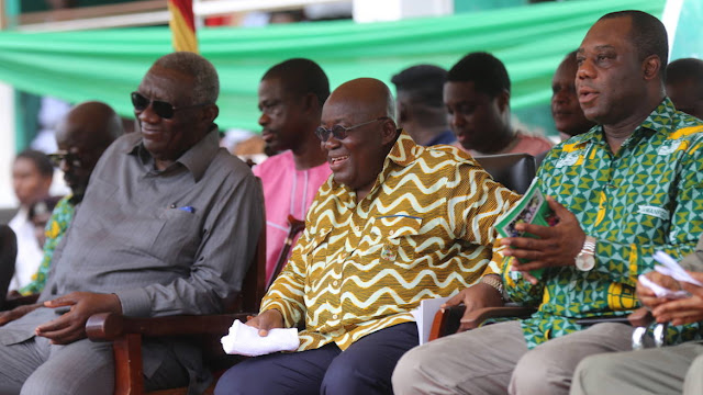 Ex-President John Kufuor (Left),  President Nana Addo Dankwa Akufo-Addo (Middle) and Education Minister