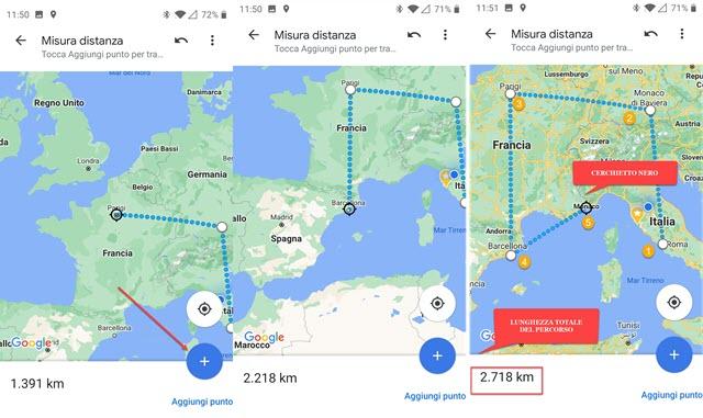 misurazione della distanza tra punti e di un percorso con google maps da mobile