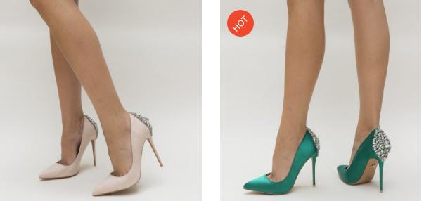 Pantofi din satin de ocazii cu brosa eleganta la spate nude, verzi