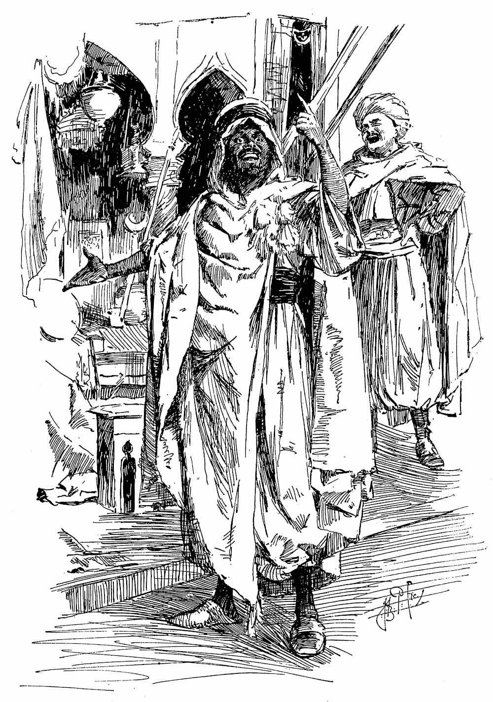 a J. Bernard Partridge illustration of a joking Arab merchant