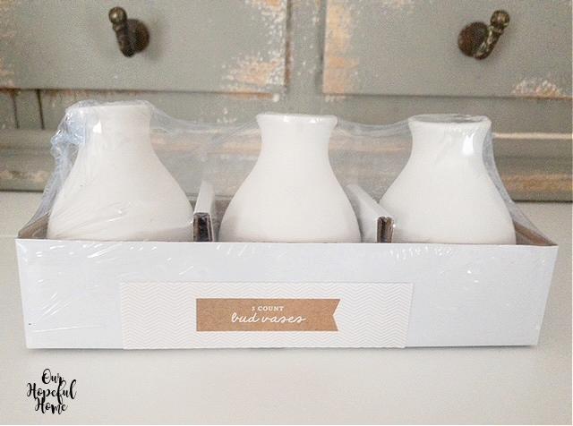 three Target white ceramic bud vases