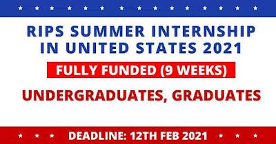 التدريب الصيفي RIPS 2021 في الولايات المتحدة الأمريكية - ممول بالكامل IELTS ليس إلزاميًا