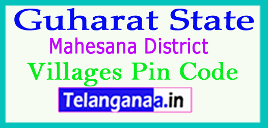Mahesana District Pin Codes in Gujarat State
