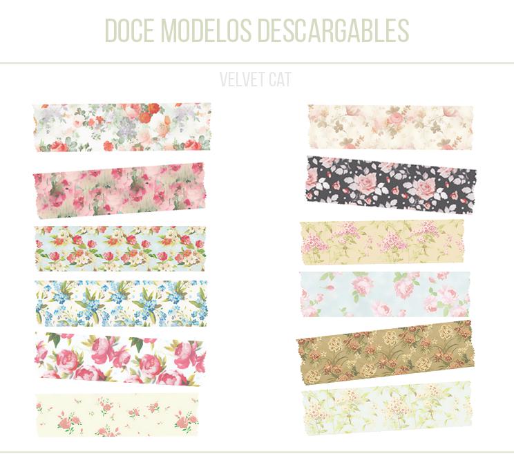 digital washi tape floral freebie
