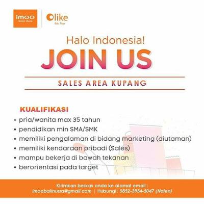 Lowongan Kerja IMOO Sebagai Sales Area Kupang