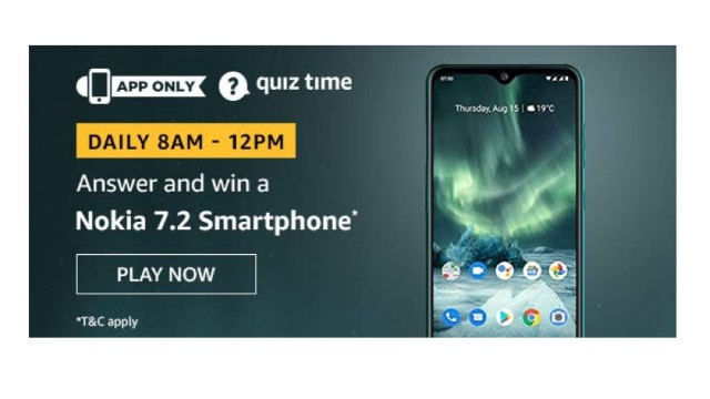 Amazon Quiz Answers Today 4 December win - Nokia 7.2 Smartphone