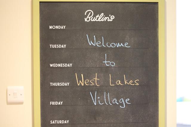 welcome note on chalkboard in butlins minehead west lake village chalet