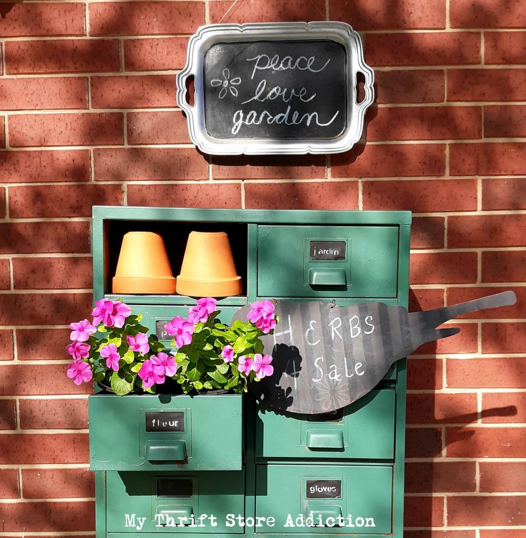 repurposed vintage garden storage