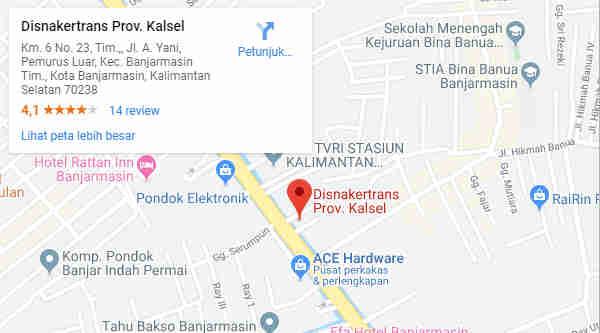 Alamat Telepon Dinas Tenaga Kerja dan Transmigrasi Provinsi Kalimantan Selatan