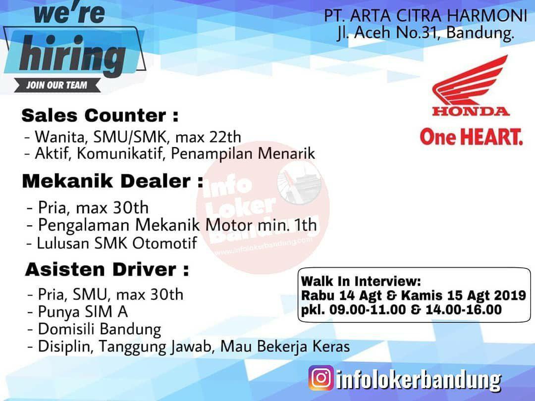 Lowongan Kerja PT. Arta Citra Harmoni (Aceh Motor) Bandung Agustus 2019