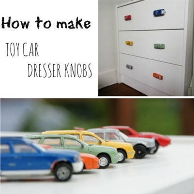 Mobil mainan jadi knob gagang laci.