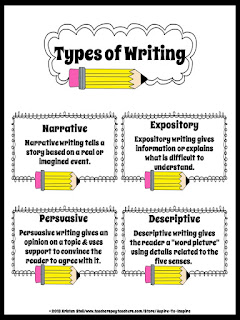 classroom bies four types of writing printable four types of writing printable