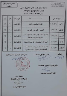 جدول امتحانات الصف الثانى الثانوى الازهرية 2020 - 2021 م
