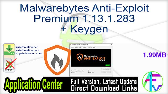 Malwarebytes Anti-Exploit Premium 1.13.1.283 + Keygen