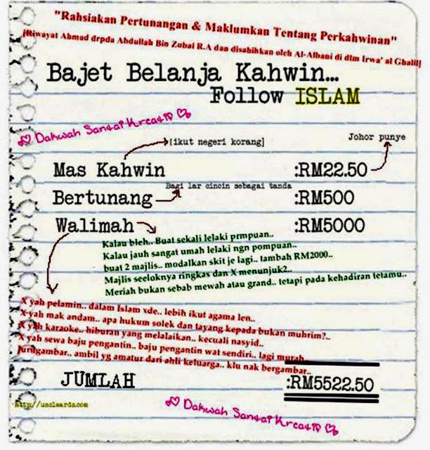 (Rajah) Bajet Jimat Belanja Kahwin Cara Islam