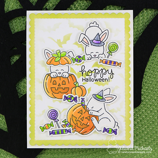 Bunny Halloween Card by Juliana Michaels | Hoppy Halloween Stamp Set and Flying Bats Stencil by Newton's Nook Designs #newtonsnook #handmade #halloween